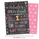 Winter ONEderland First Birthday Party Invitation (Pink and Gold) - Chalkboard Style - inkberrycards