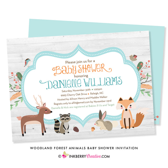 woodland forest animal baby shower invitation with fox, deer, raccoon, rabbit, birds and flowers on woodgrain background