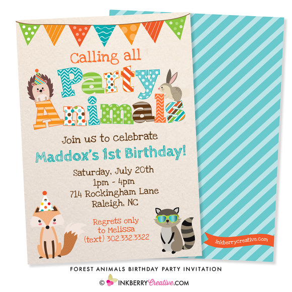 Party Animals - Woodland Forest Animals Birthday Party Invitation - inkberrycards
