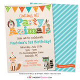 woodland forest animal birthday party invitation with fox, raccoon, hedgehog, bunny, banner