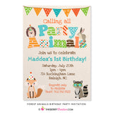 Party Animals - Woodland Forest Animals Birthday Party Invitation