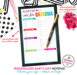 Baby's Day - Personalized Babysitter Notepad - Color Tab Grid - 2 Sizes Available