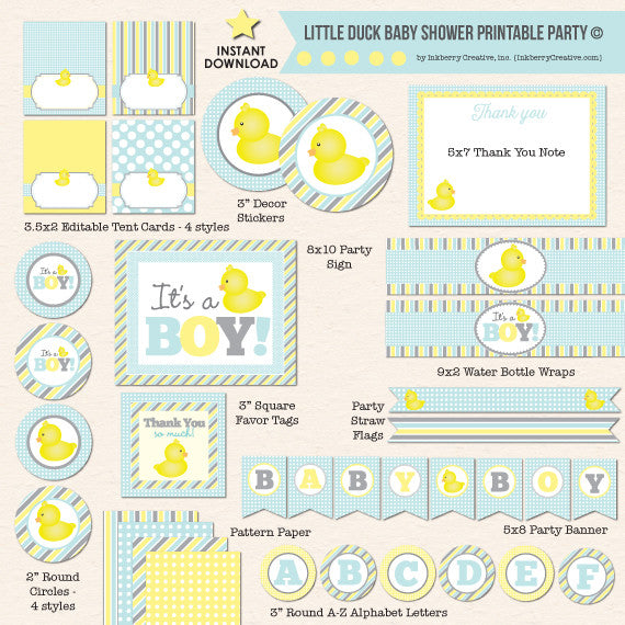 Yellow Rubber Ducky Baby Shower - DIY Printable Party Pack - inkberrycards