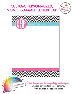 Custom Letterhead - Chevron Border Monogram - inkberrycards