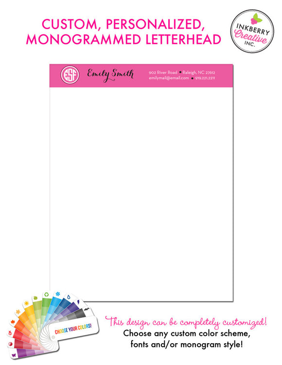 Custom Letterhead - Solid Stripe Monogram - inkberrycards