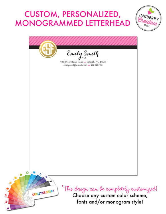 Custom Letterhead - Gold Circle Monogram - inkberrycards
