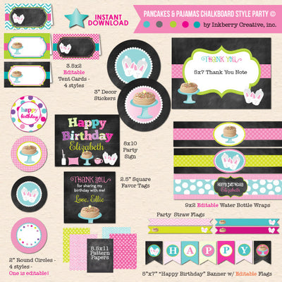 Pancakes and Pajamas Chalkboard Style Birthday with Bunny Slippers - DIY Printable Party Pack - inkberrycards
