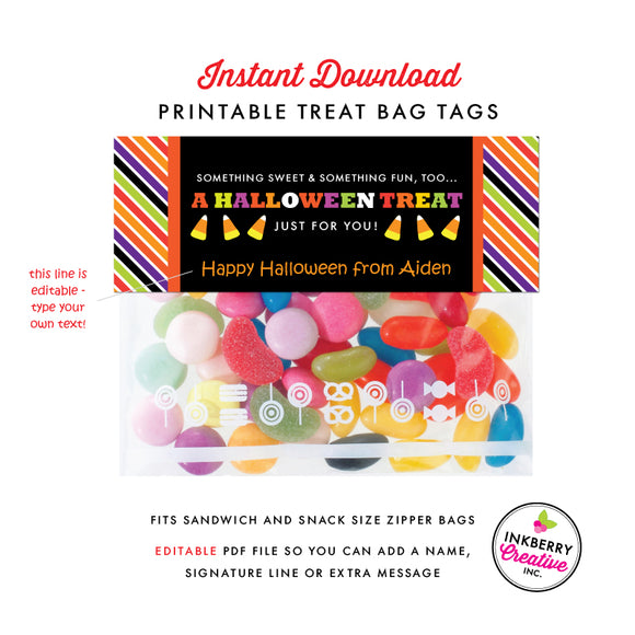 Printable Halloween Treat Bag Tags - Instant Download, Editable PDF File to Personalize and Print Your Own - inkberrycards
