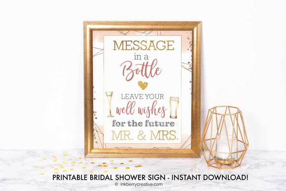 Bubbles and Brews Shower - Message in a Bottle Sign - Well Wishes Cards - Printable, Editable