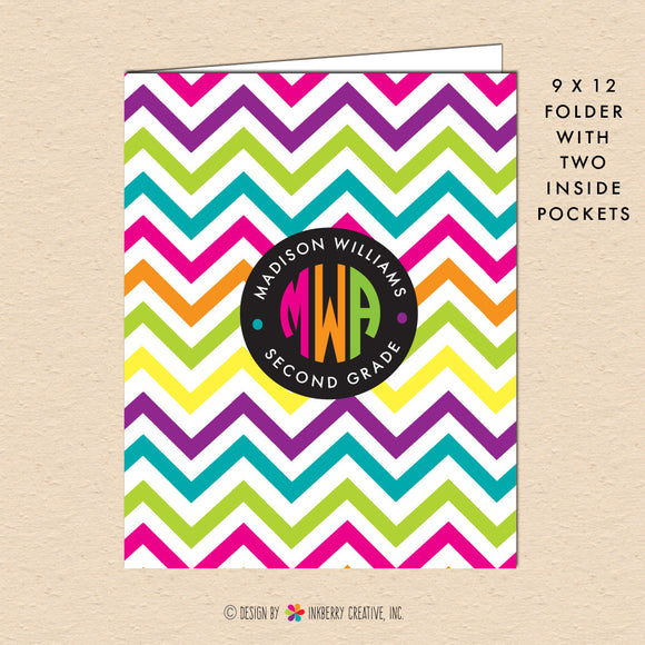 Neon Chevron - Circle Monogram - Personalized Pocket Folder - inkberrycards