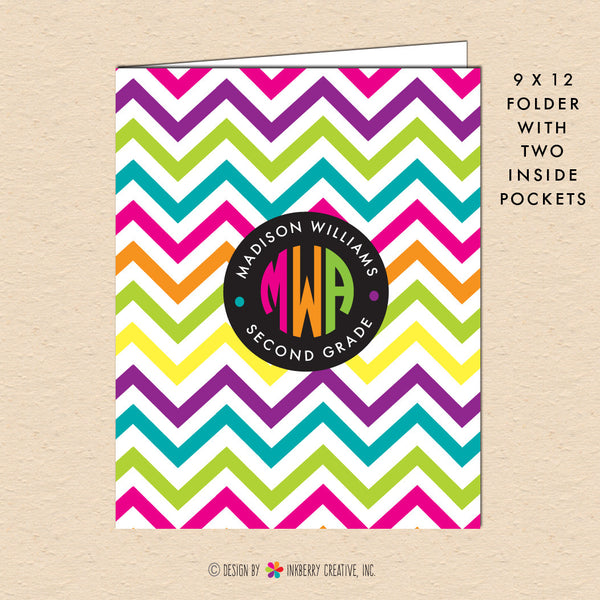 Neon Chevron - Circle Monogram - Personalized Pocket Folder