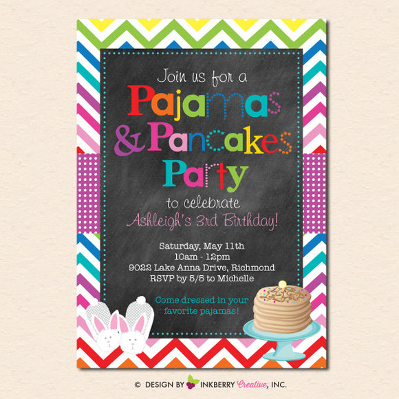 Pancakes & Pajamas Rainbow Chevron Birthday Party - Chalkboard Style Party Invitation - inkberrycards