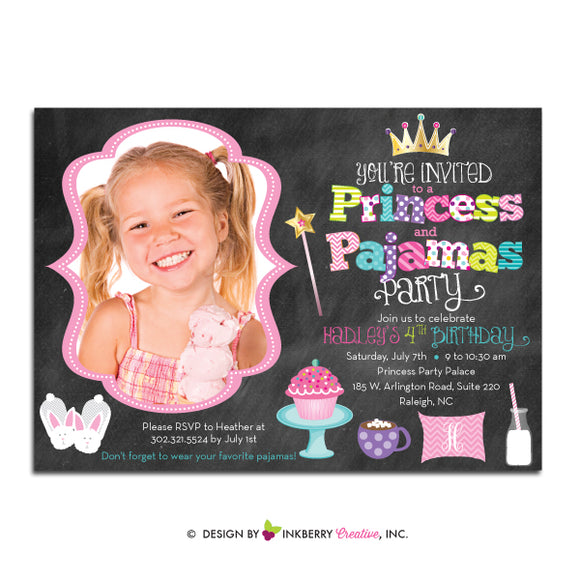 Princess and Pajamas Birthday Party - Chalkboard Style Photo Party Invitation