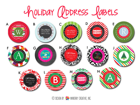 Happy Holiday & Christmas Address Labels - Choose Your Style (Pack of 24)