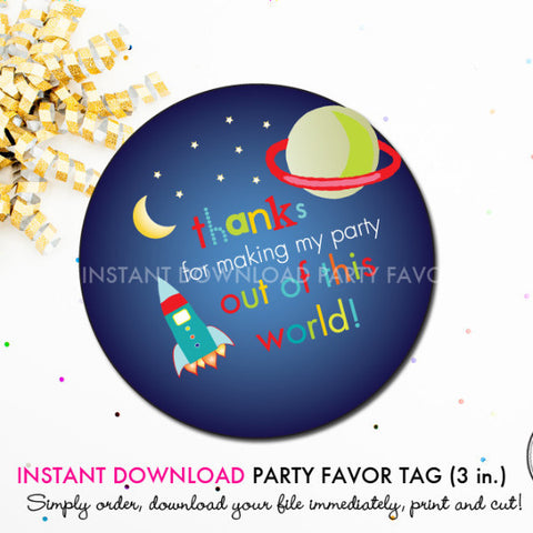 Outer Space Birthday - Printable 3 inch Birthday Party Favor Tags - Instant Download PDF File
