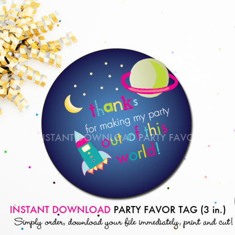 Outer Space (Girls) - Printable 3 inch Birthday Party Favor Tags - Instant Download PDF File