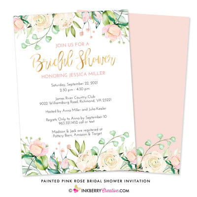 Painted Pink Rose Floral Bridal Shower Invitation - inkberrycards