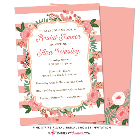 Spring Floral Stripe Bridal Shower Invitation - inkberrycards
