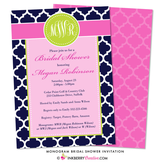 Monogram Bridal Shower Invitation - Pink and Navy Quatrefoil