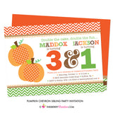 Chevron Pumpkin Sibling Birthday Party Invitation - inkberrycards