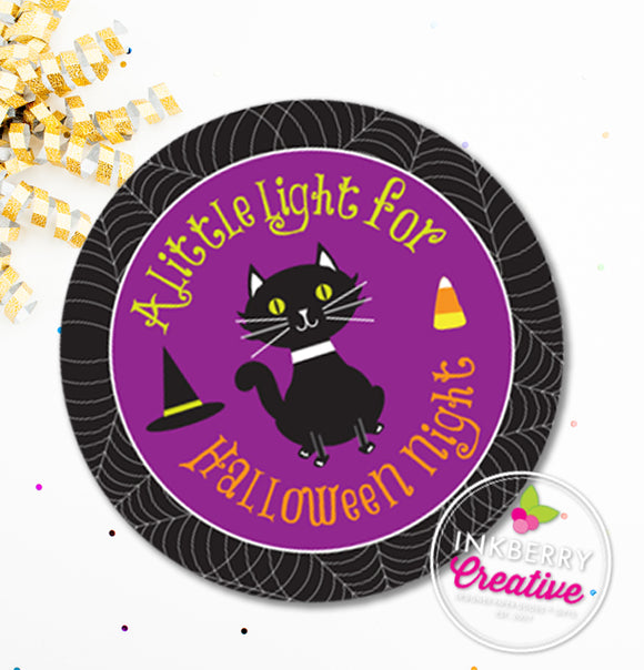 Little Light For Halloween Night - Printable, Round, Kids Halloween Glow Stick Gift Tag or Sticker - Instant Download JPEG and PDF Files - inkberrycards