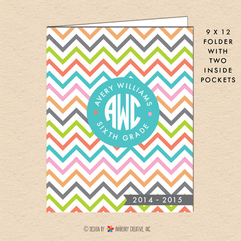 Summer Chevron - Circle Monogram - Personalized Pocket Folder