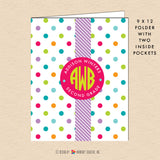 Summer Polka Dot - Circle Monogram - Personalized Pocket Folder - inkberrycards