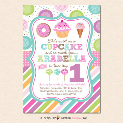 Sweet Shoppe Sprinkles Birthday Party Invitation - inkberrycards