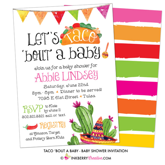 Taco 'Bout A Baby Shower Invitation - inkberrycards