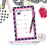 To Do List Notepad - Today's Plan - Premium Daily Planner Notepad - Preppy Patterns (Navy, Pink and Green) - inkberrycards