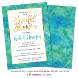 Turquoise and Gold Watecolor Bridal Shower Invitation - inkberrycards