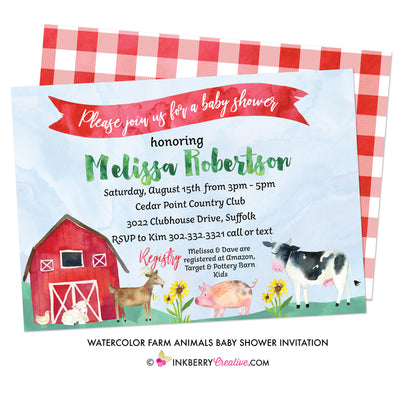 Watercolor Farm Animals Baby Shower Invitation - inkberrycards