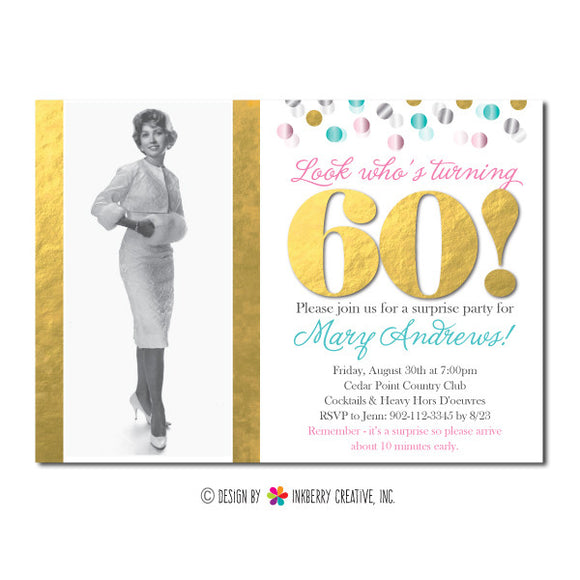 Milestone Memories Confetti Party Invitation - inkberrycards