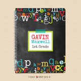 Boy's Chalkboard Alphabet - Personalized Notebook