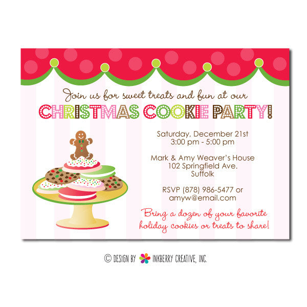 Sweet Traditions Christmas Cookies Party Invitation Inkberry – Cookie Party Invitation
