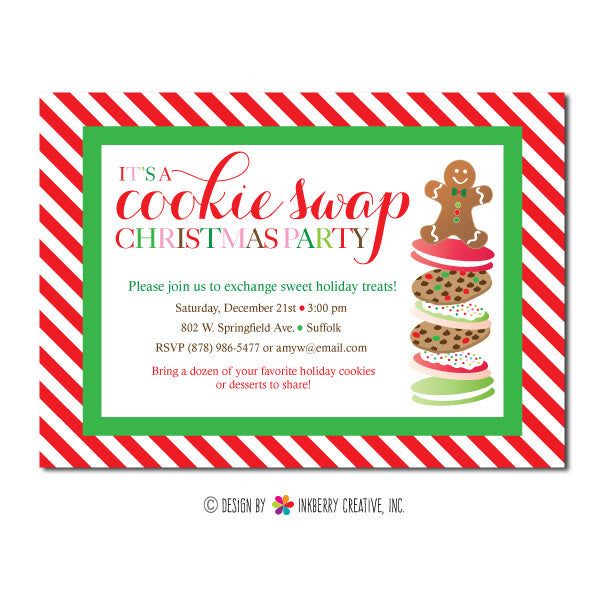 Christmas Cookie Party Invite.Cookie Swap Christmas Party Invitation