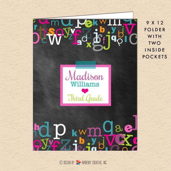 Girl's Chalkboard Alphabet - Personalized Pocket Folder - inkberrycards