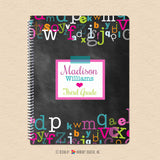 Girl's Chalkboard Alphabet - Personalized Notebook