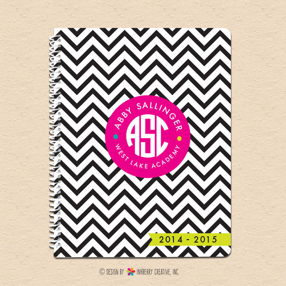 Black & White Chevron - Circle Monogram Notebook - inkberrycards