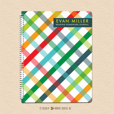 Bold Summer Plaid - Personalized, Custom Notebook - inkberrycards
