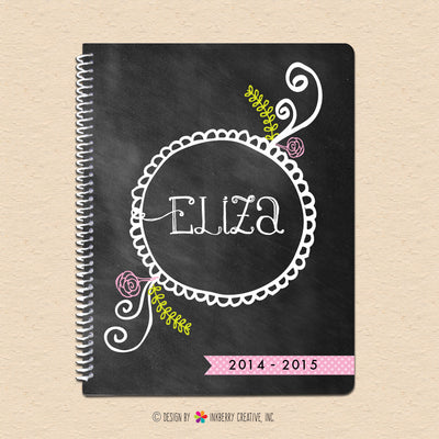 Chalkboard Floral Doodle - Personalized, Custom Spiral Notebook
