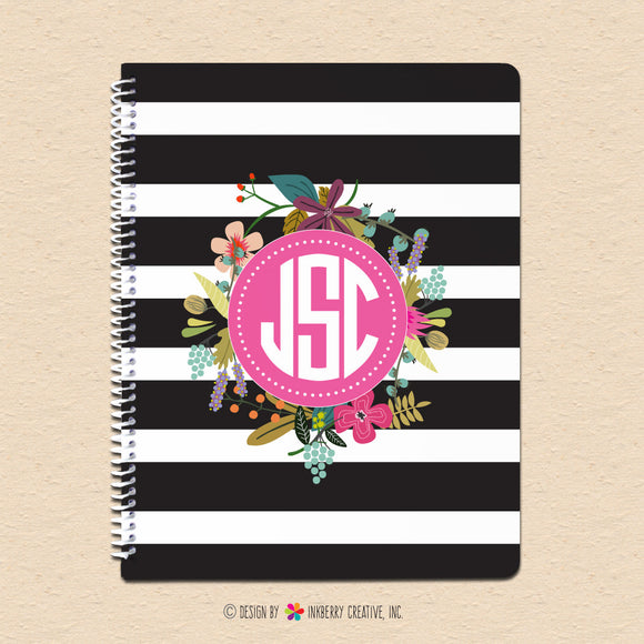Black White Stripes & Floral Monogram - Personalized, Custom Spiral Notebook - inkberrycards