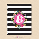 Black White Stripes & Floral Monogram - Personalized, Custom Spiral Notebook