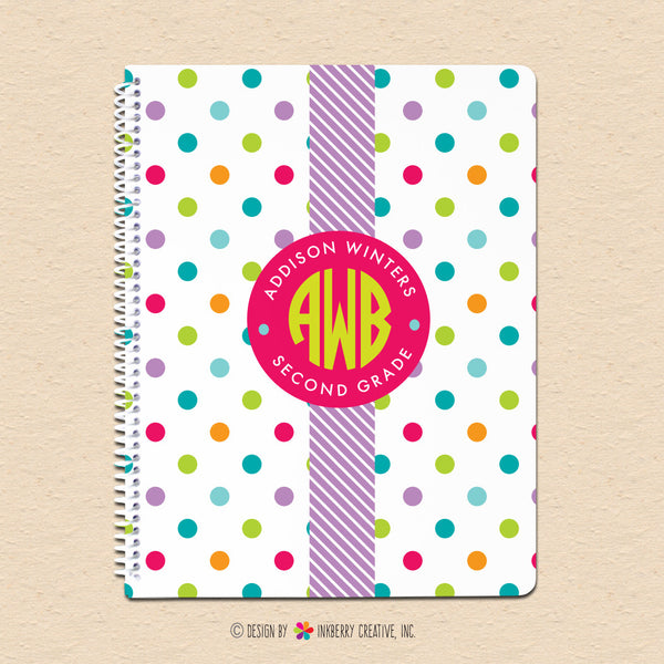 Summer Polka Dots - Circle Monogram - Personalized, Custom Spiral Notebook