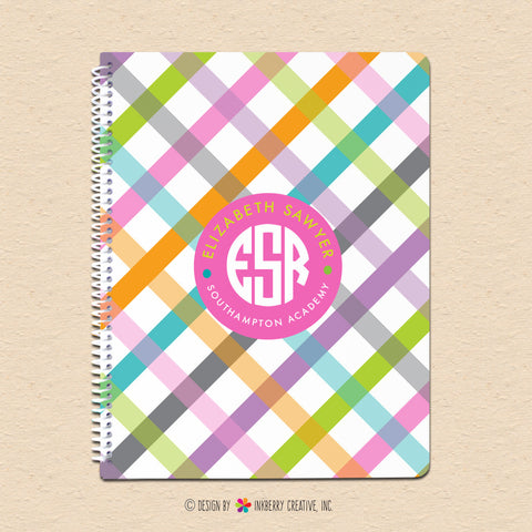 Girl's Spring Plaid - Personalized, Custom Spiral Notebook