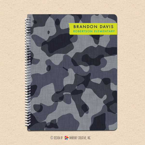 Black & Gray Camouflage - Personalized Notebook