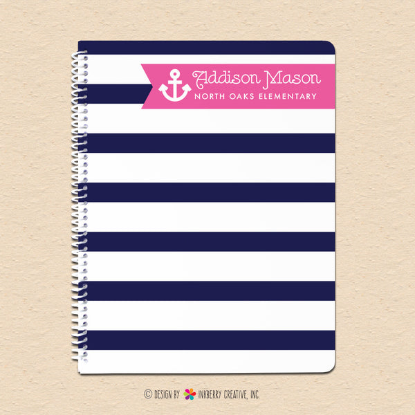 Navy & Pink Girl's Nautical Stripe - Personalized, Custom Notebook