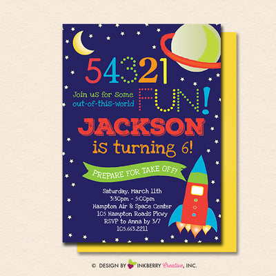 Outer Space Birthday Party Invitation - Printable, Instant Download, Editable, PDF