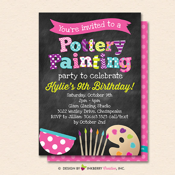 Pottery Painting Party Invitation (Chalkboard Style) - Kids Art / Pottery Painting Birthday Party Invite - Printable, Instant Download, Editable, PDF - inkberrycards