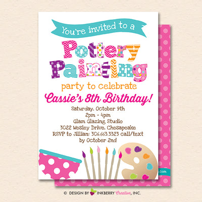 Pottery Painting Party Invitation White